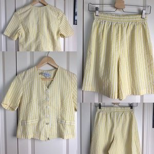 Vintage Bedford Fair Yellow Seersucker Summer Set